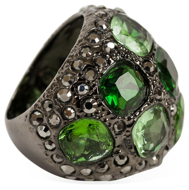 KJL Green Rhinestone Cocktail Ring