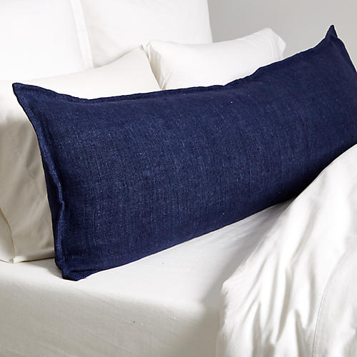 Montauk 18x60 Body Pillow, Indigo Linen
