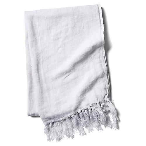 Montauk Linen Throw, White