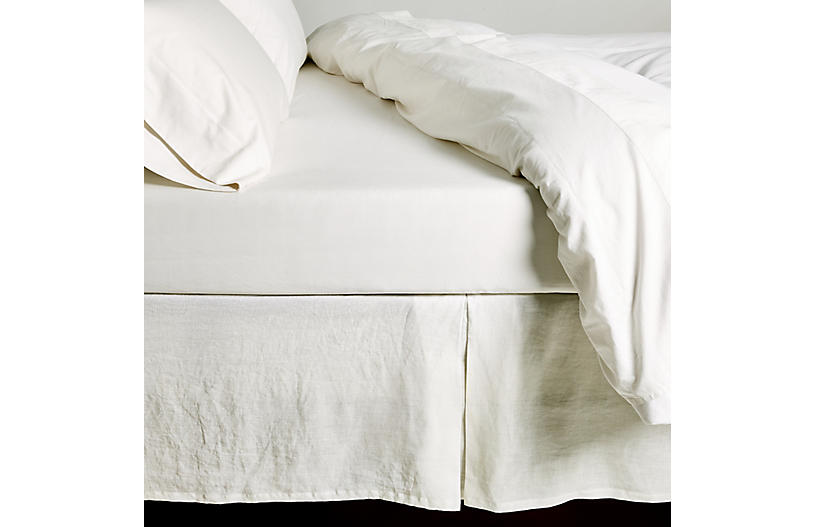 Pleated Bed Skirt, White