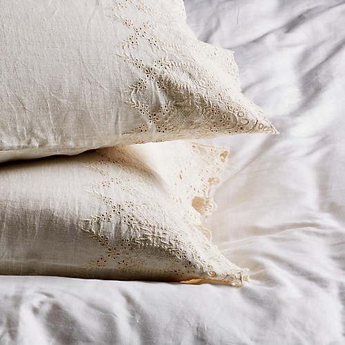 S/2 Annabelle Pillowcases, Cream