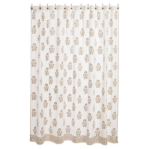Bahaar Shower Curtain, Gold/White