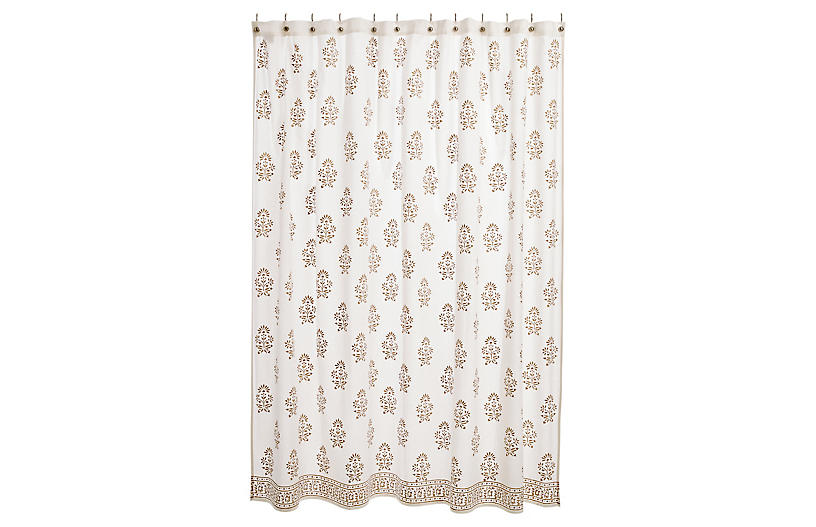 Bahaar Shower Curtain, Gold/White