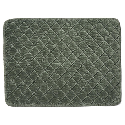 S/4 Hampton Place Mats, Hunter Green