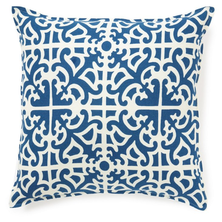 Trellis 16x16 Cotton Pillow, Blue/Cream