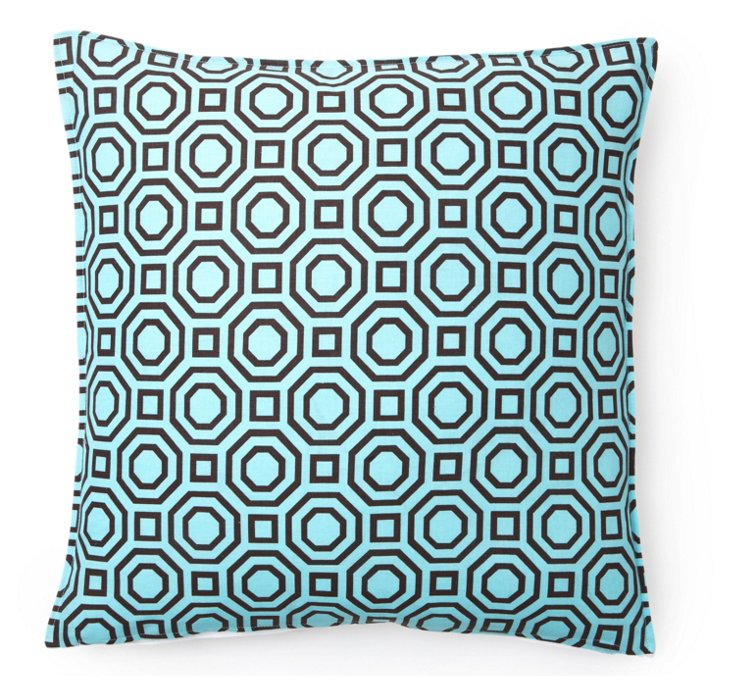 Mod 16x16 Pillow, Blue/Brown
