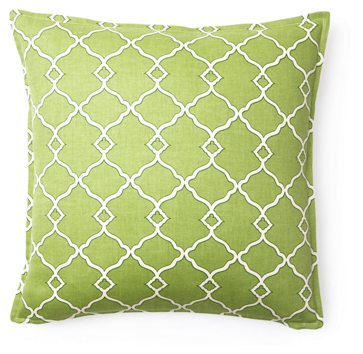 Hamptons 16x16 Cotton Pillow, Green
