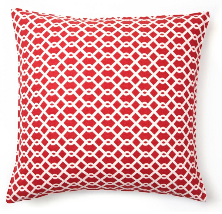 Lattice 16x16 Cotton Pillow, Watermelon