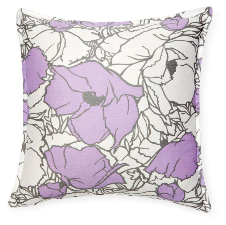 Floral 16x16 Cotton Pillow, Lavender