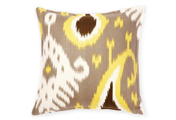 Ikat 16x16 Pillow, Brown/Yellow