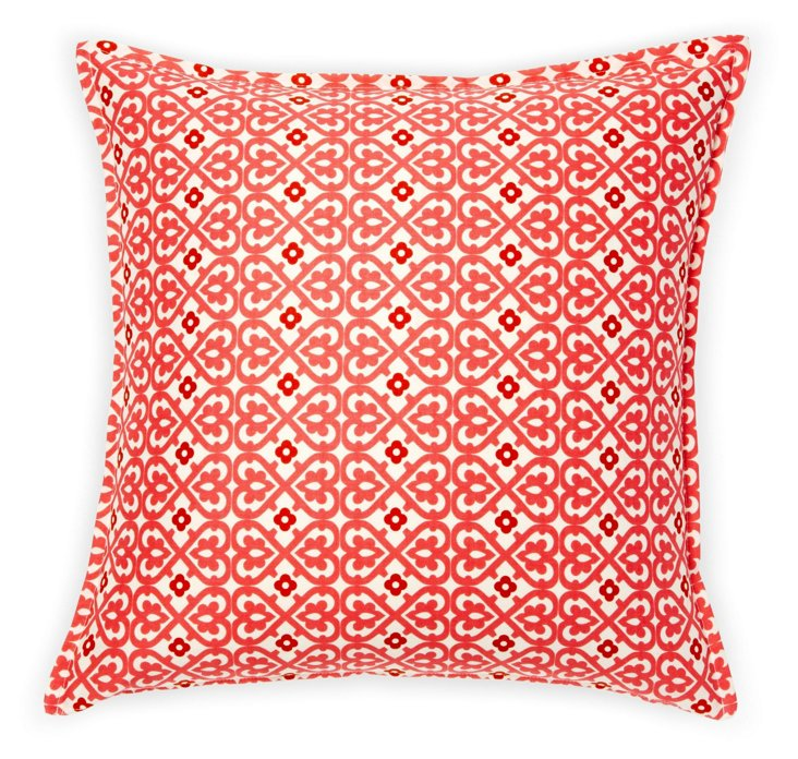 Damask Heart 16x16 Pillow, Red