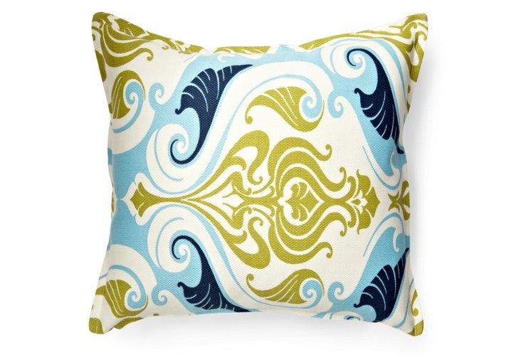 Swirls 20x20 Outdoor Pillow, Blue
