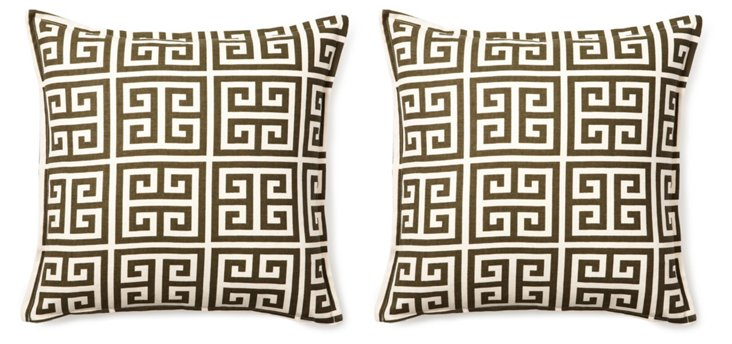 S/2 Meander 16x16 Pillows, Brown