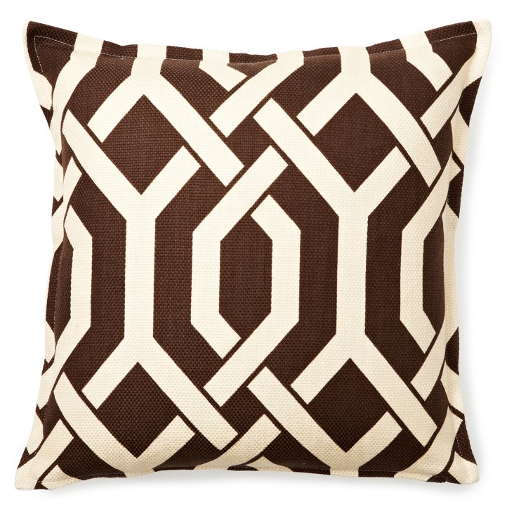 Interlocked 16x16 Pillow, Brown