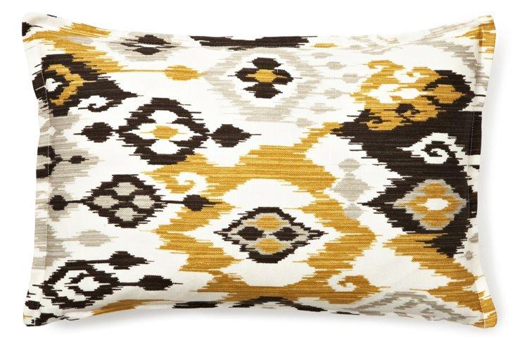 Ikat Motif 12x18 Cotton Pillow, Gold