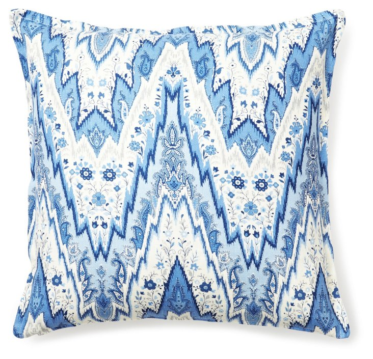 Trendy 16x16 Linen-Blended Pillow, Blue