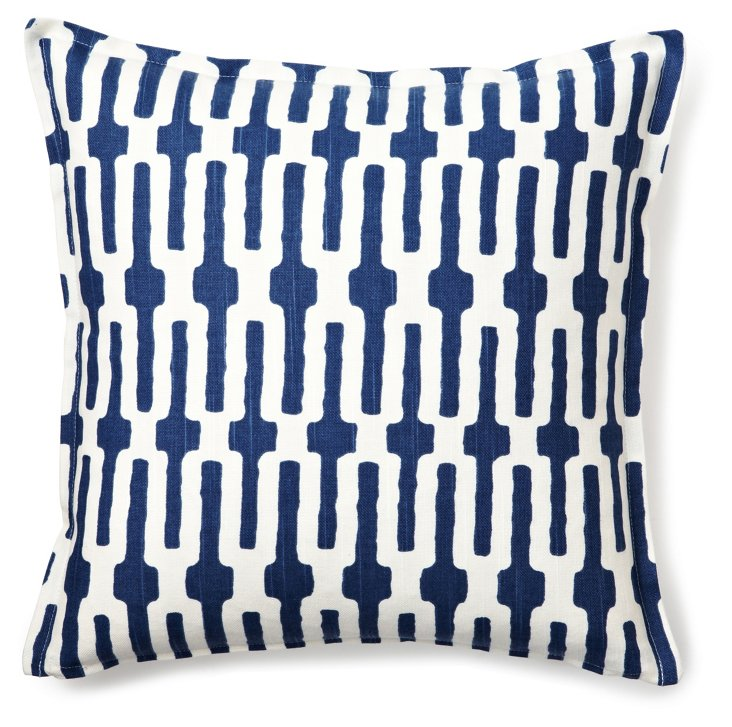 Maze 16x16 Cotton Pillow, Blue