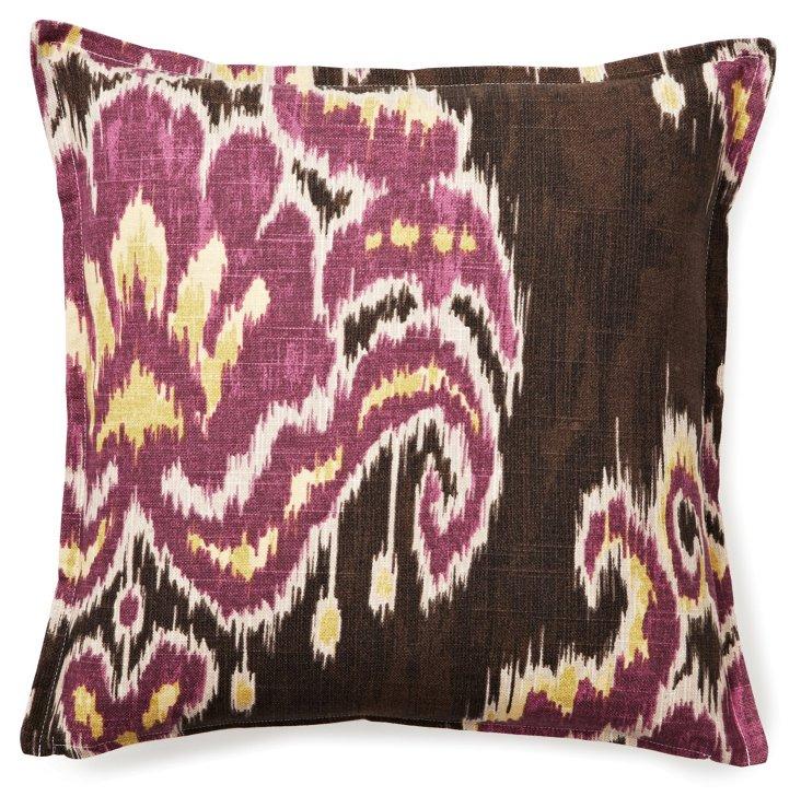 Ikat Damask 16x16 Cotton Pillow, Brown