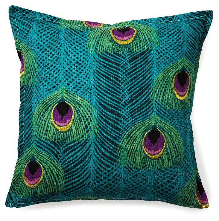 Peacock Feather 16x16 Pillow, Multi