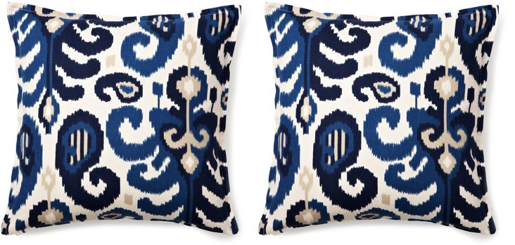 S/2 Ikat 16x16 Cotton Pillows, Blue