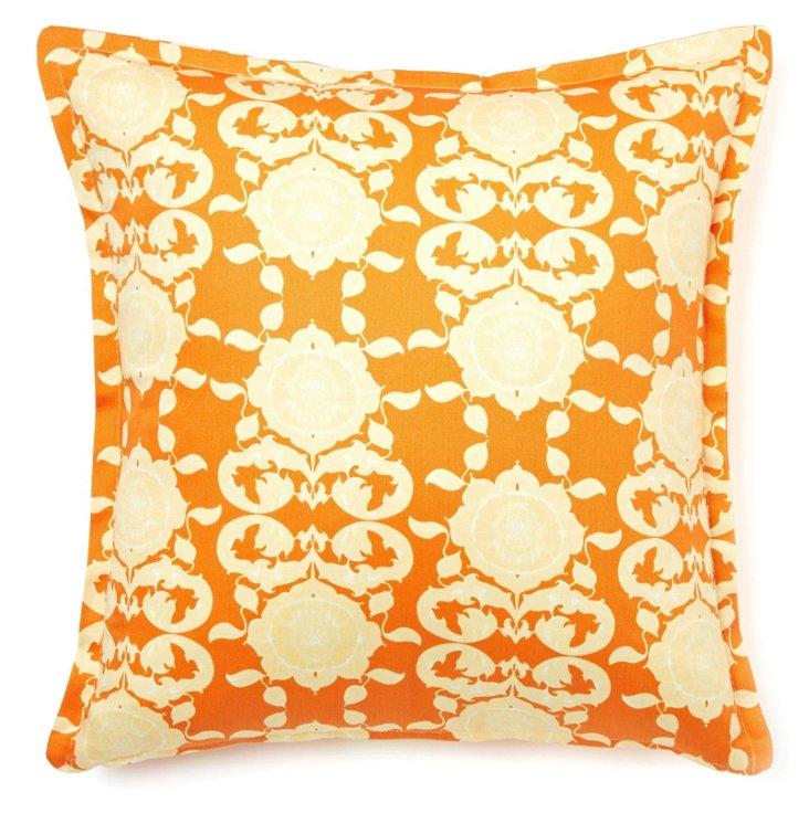 Kaleidoscope 16x16 Cotton Pillow, Orange
