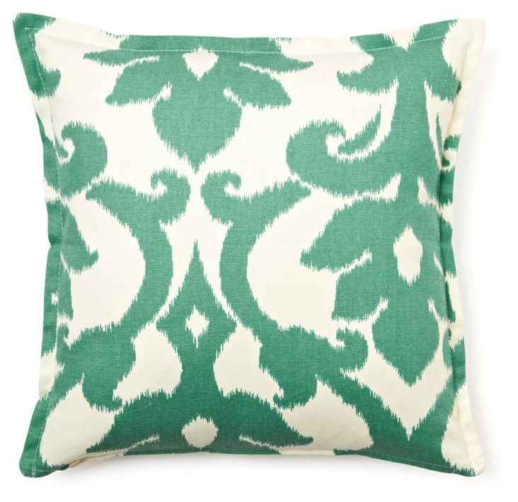 Lattice 16x16 Cotton Pillow, Green
