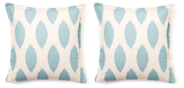 Ikat Dot 16x16 Pillow, Light Blue