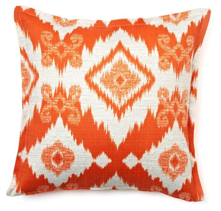 Ikat Geo 16x16 Cotton Pillow, Saffron
