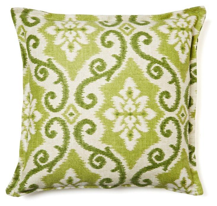 Ivy Ikat 16x16 Cotton Pillow, Green
