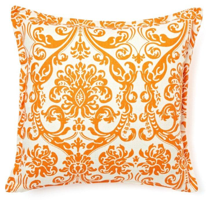 Damask 16x16 Cotton Pillow, Orange