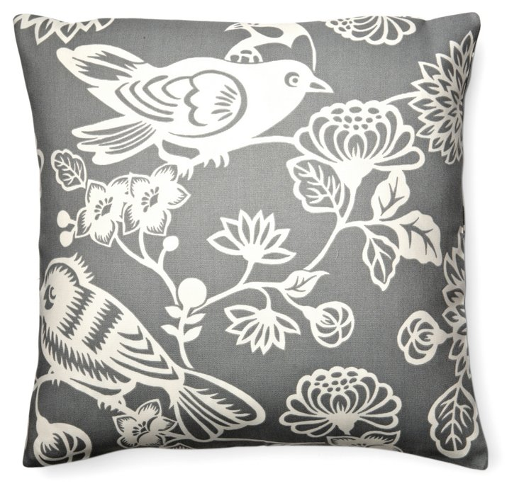 Tweet 20x20 Outdoor Pillow, Gray