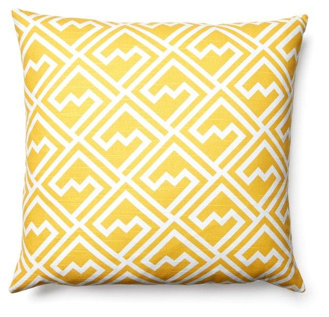 Outline 20x20 Cotton Pillow, Yellow