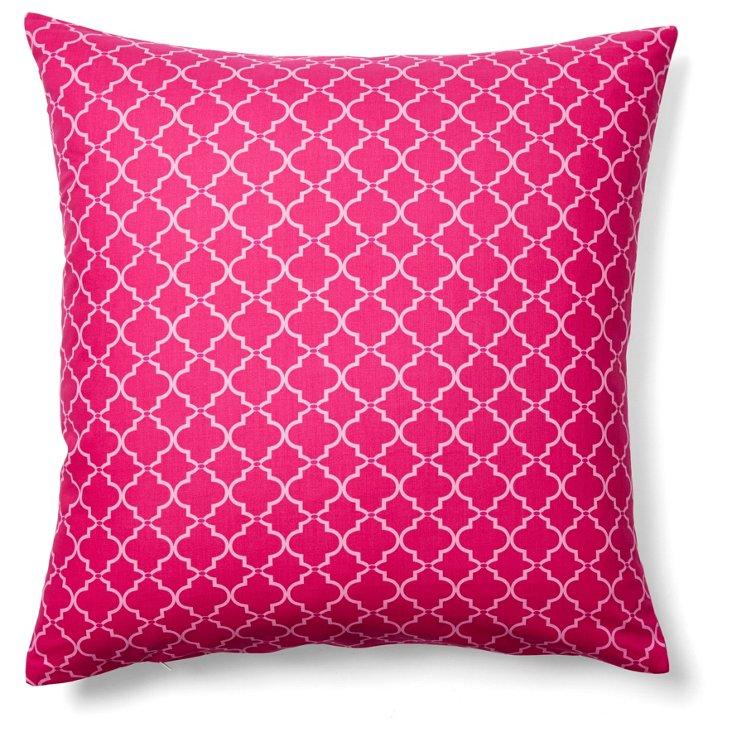 Trellis 20x20 Cotton Pillow, Magenta