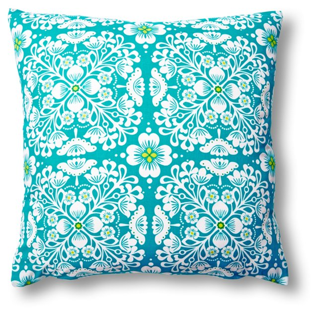 Floral 20x20 Cotton Pillow, Blue