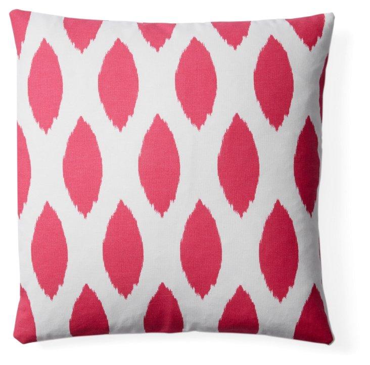 Ikat 20x20 Cotton Pillow, Hot Pink