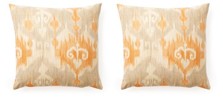S/2 Annie 20x20 Cotton Pillows, Orange