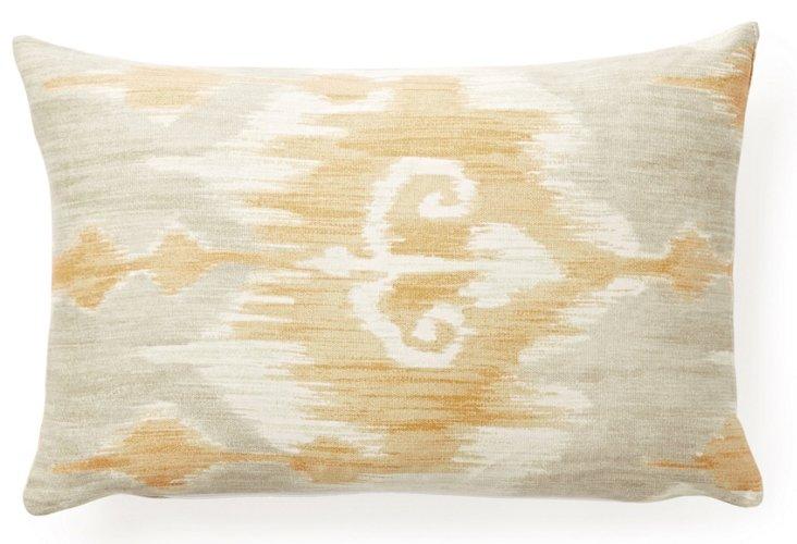 Ikat 12x20 Cotton Pillow, Natural