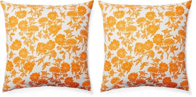 S/2 Floral 20x20 Cotton Pillows, Orange