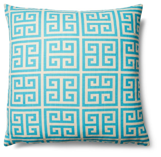 Greek Key 20x20 Cotton Pillow, Teal