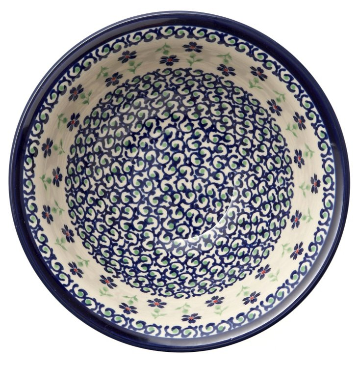 Bowl, Blue Scroll