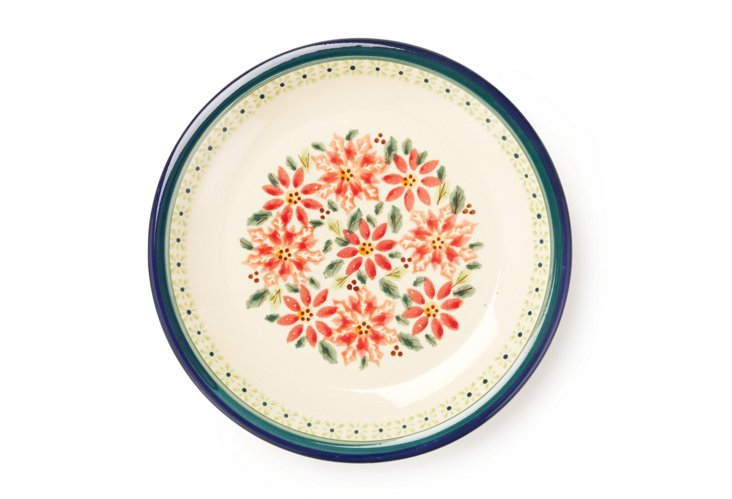 Luncheon Plate, Red Flowers