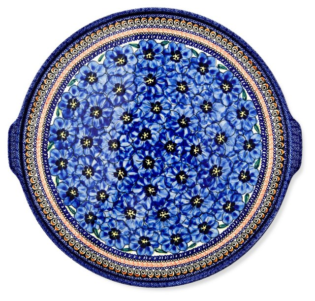 Extra Large Round Platter, Blue Flowers