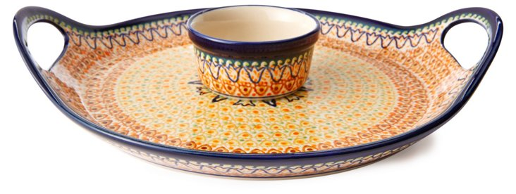 Small Serving Tray w/ Dip Bowl, Multi