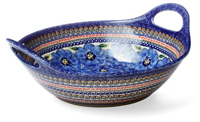 Large Handled Serving Bowl, Blue Flowers