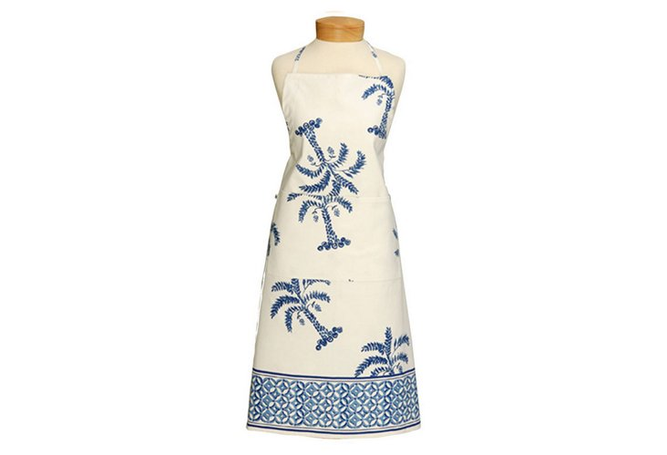 Palm Tree Apron, Blue