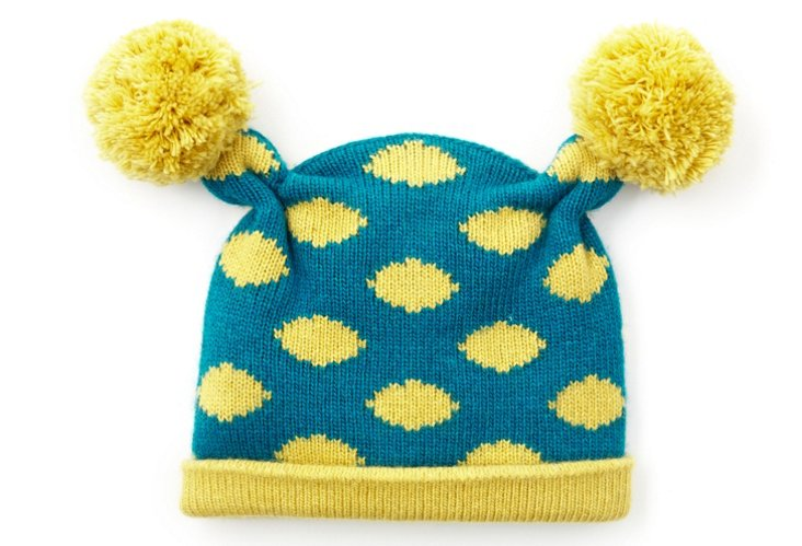 Baby Poof Hat, Blue/Yellow