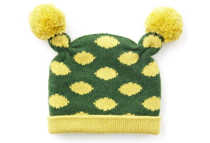 Baby Poof Hat, Green/Yellow