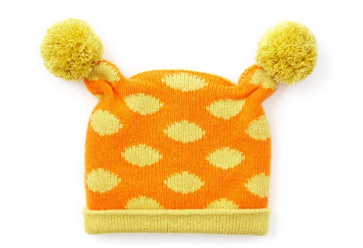 Baby Poof Hat, Orange/Yellow