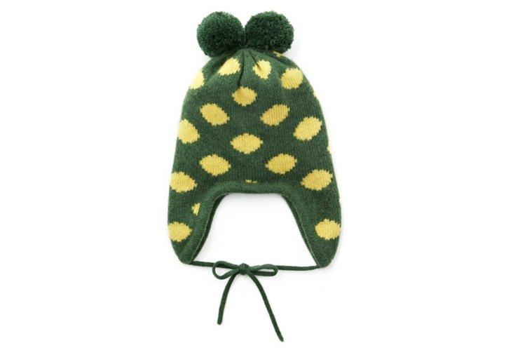 Nuvola Earflap Hat, Green/Yellow