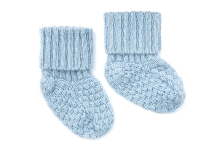 Baby Cashmere Booties, Powder Blue